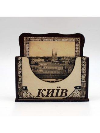 """Набір дерев'яних підставок """"Ретро Київ""""  #1030902"""