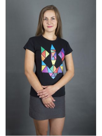 """Футболка жіноча  """"Тризуб Трикутник"""" #102190102"""