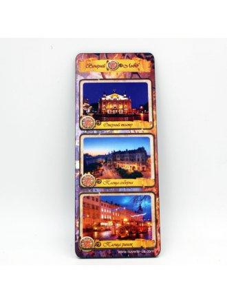 """Набір дерев'яних магнітів """"Вечірній Львів"""" #101080303"""